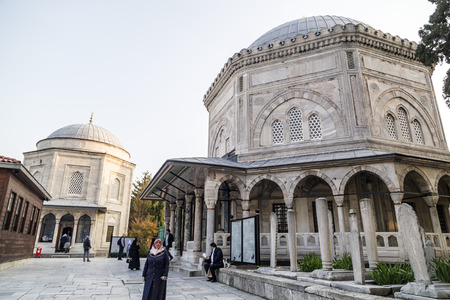 mausoleum: Istanbul, Turkey - March 13, 2015: The memorial tomb of the legendary Ottoman sultan Suleiman the Magnificent in Suleymaniye mosque on March 13.