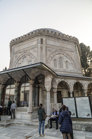 suleymaniye: Istanbul, Turkey - March 13, 2015: The memorial tomb of the legendary Ottoman sultan Suleiman the Magnificent in Suleymaniye mosque on March 13.