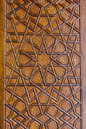 Ottoman wooding carving art, geometric islamic pattern