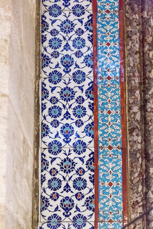 ornamentation: Iznik tiles Islamic art wall detail Stock Photo