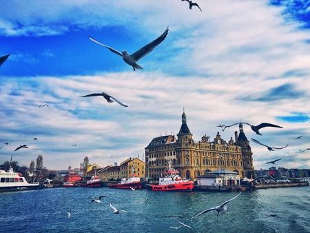 haydarpasa: Kadikoy shore and Haydarpasa Railway Station building, Istanbul, Turkey Stock Photo