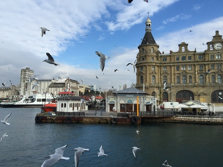 haydarpasa: Kadikoy shore and Haydarpasa Railway Station building, Istanbul, Turkey Stock Photo