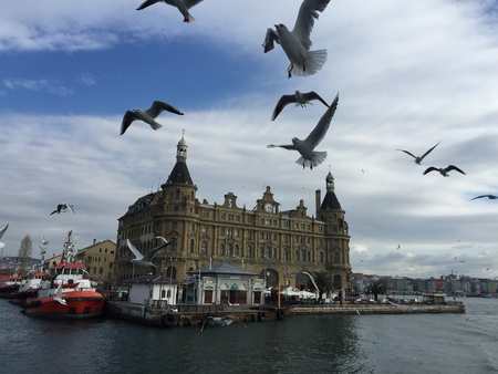 urban: Kadikoy shore and Haydarpasa Railway Station building, Istanbul, Turkey Stock Photo