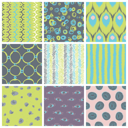 retro pattern: Nine creative vector seamless pattern designs