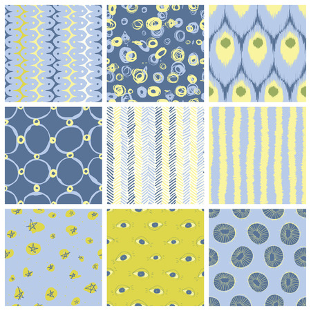 mid century: Nine creative vector seamless pattern designs