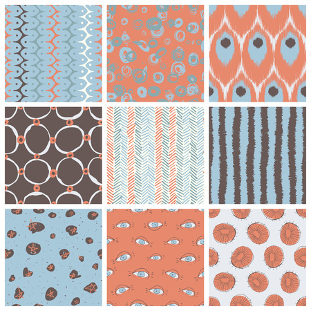 mid century: Nine creative vector seamless pattern designs