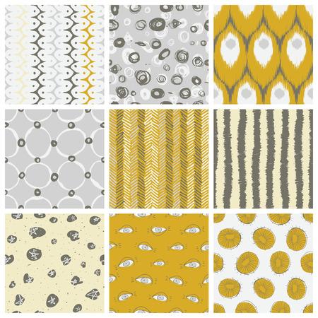 mid century modern: Nine creative vector seamless pattern designs