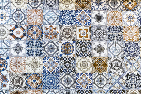 Collage of different floor tiles with various designs, floor tile pattern background