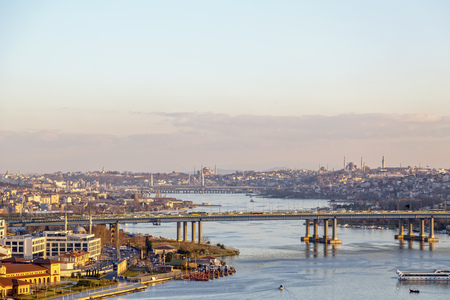 bosporus: Sunset view at the Golden Horn or Halic from the famous Pierre Loti Hill, Eyup, Istanbul, Turkey