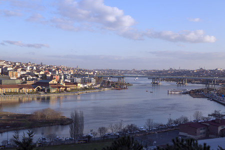 topkapi: Sunset view at the Golden Horn or Halic from the famous Pierre Loti Hill, Eyup, Istanbul, Turkey