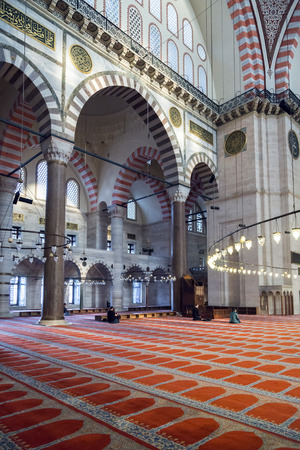 suleyman: Interior view from Suleymaniye Mosque built by the legendary Ottoman Sultan Suleiman the Magnificent Editorial