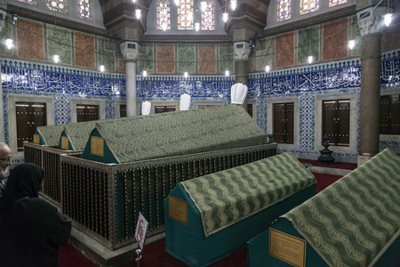 suleyman: The memorial tomb of the legendary Ottoman sultan Suleiman the Magnificent in Suleymaniye mosque. Editorial