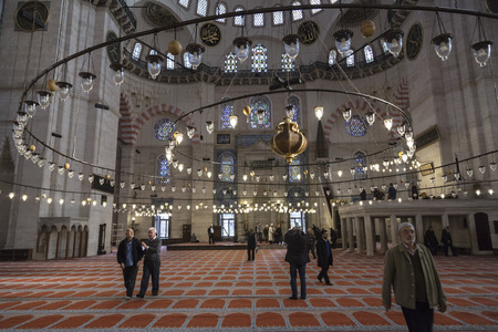 constantinople ancient: Istanbul, Turkey - November 13, 2015: Interior view from Suleymaniye Mosque built by the legendary Ottoman Sultan Suleiman the Magnificent, on November 13, 2015