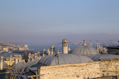 hagia: View from Suleymaniye Mosque built by the legendary Ottoman Sultan Suleiman the Magnificent overlooking the Golden Horn Stock Photo