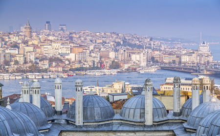 View from Suleymaniye Mosque built by the legendary Ottoman Sultan Suleiman the Magnificent overlooking the Golden Horn Stock Photo