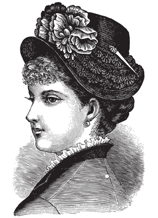 vogue: Vintage engraving portrait of a pretty lady, fashioned in old-time vogue Illustration