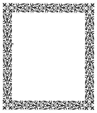 Vintage engraving frame with floral decorations Reklamní fotografie - 52891680