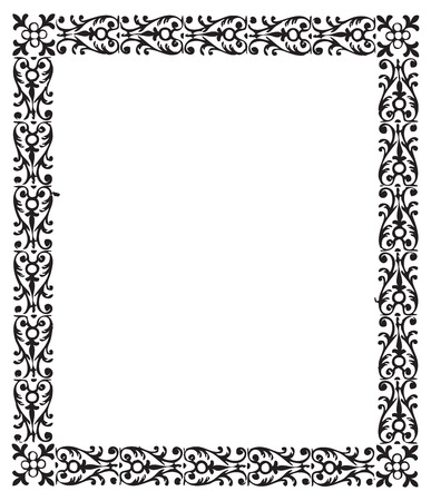 Vintage engraving frame with floral decorations Ilustrace