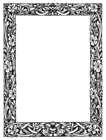 artistic: Vintage engraving frame with floral decorations Illustration