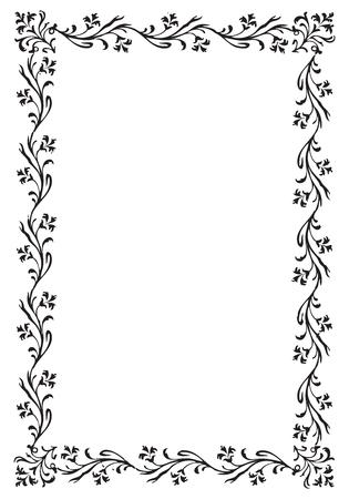 art frame: Vintage engraving frame with floral decorations Illustration