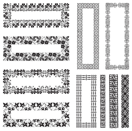 Collection of vintage engraving frames with floral decorations Illustration