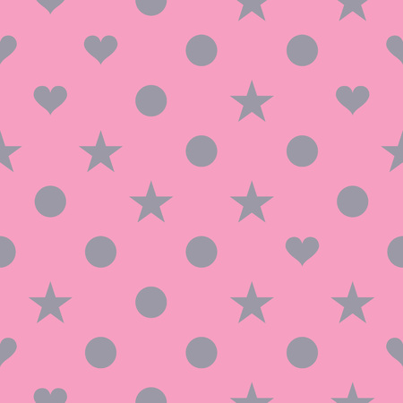pink christmas: Seamless pattern design hearts, circles and stars
