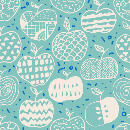 Vector seamless surface pattern design with hand drawn abstract apples in different doodle ornamentations. Perfectly repeating pattern for all web and print purposes. Ilustracja