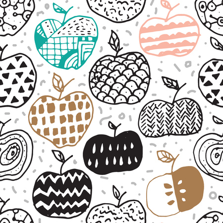 ornamentations: Vector seamless surface pattern design with hand drawn abstract apples in different doodle ornamentations. Perfectly repeating pattern for all web and print purposes. Illustration