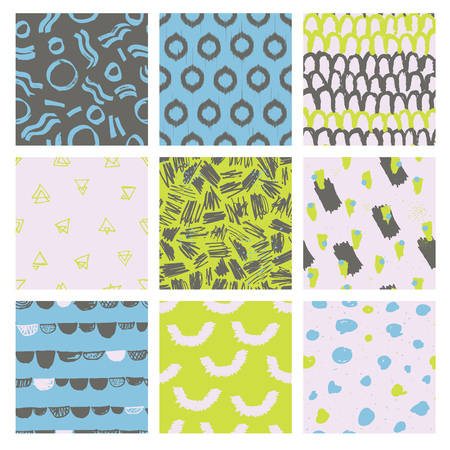 fashionable: Collection of trendy and highly fashionable decorative seamless pattern designs. Surface patterns for all web and print purposes.