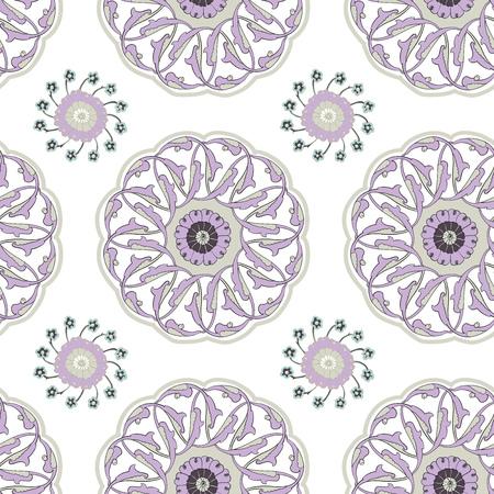 iznik: Vector seamless pattern with traditional Turkish Iznik motifs. Islamic Ottoman Turkish art, ceramic tile surface pattern design, oriental floral pattern