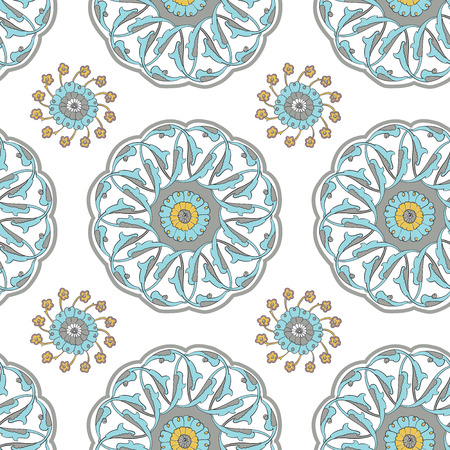 mustard: Vector seamless pattern with traditional Turkish Iznik motifs. Islamic Ottoman Turkish art, ceramic tile surface pattern design, oriental floral pattern