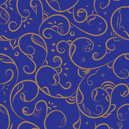 iznik: Seamless pattern design with detailed Iznik style floral motifs drawn freehand on digital tablet, elegant flourishes repeating surface pattern for web and print use. Illustration