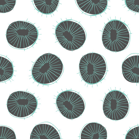 50s: Seamless vector pattern with 50s style mid-century modern circle drawings, repeating background for all web and print purposes Illustration