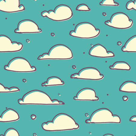cloudy: Seamless vector pattern with cute little doodle clouds, marker pen drawn cartoon clouds repeating background for all web and print purposes
