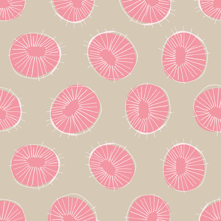 mid century modern: Seamless vector pattern with 50s style mid-century modern circle drawings, repeating background for all web and print purposes Illustration