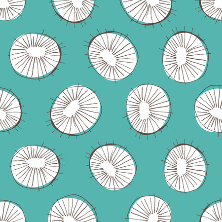 50's: Seamless vector pattern with 50s style mid-century modern circle drawings, repeating background for all web and print purposes Illustration