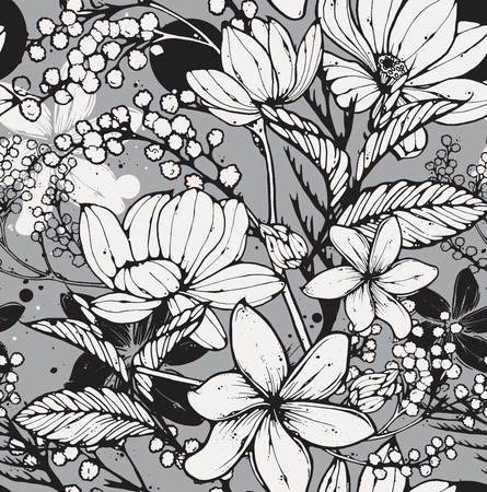 Beautiful seamless pattern with hand drawn flowers, frangipani, mimosa and lotus. Elegant repeating surface pattern perfect for web and print purposes. Ilustrace
