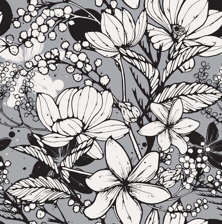 Modelo inconsútil hermoso con flores dibujadas a mano, frangipani, mimosa y de loto. Modelo elegante superficie repetitiva perfecto para los propósitos web e impresión.