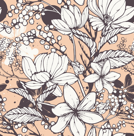 peach: Beautiful seamless pattern with hand drawn flowers, frangipani, mimosa and lotus. Elegant repeating surface pattern perfect for web and print purposes. Illustration