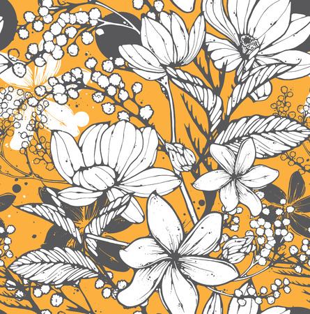 Beautiful seamless pattern with hand drawn flowers, frangipani, mimosa and lotus. Elegant repeating surface pattern perfect for web and print purposes. Ilustração