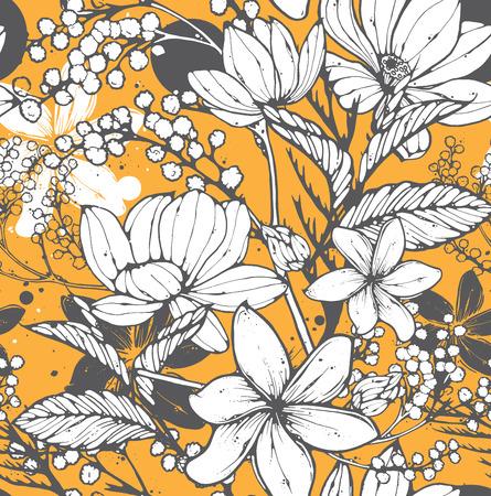 Belle seamless avec des fleurs à la main dessiné, frangipanier, mimosas et lotus. Elégant motif répétitif de surface parfaite pour des fins de Web et d'impression. Vecteurs