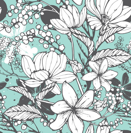 Beautiful seamless pattern with hand drawn flowers, frangipani, mimosa and lotus. Elegant repeating surface pattern perfect for web and print purposes. Stock Illustratie