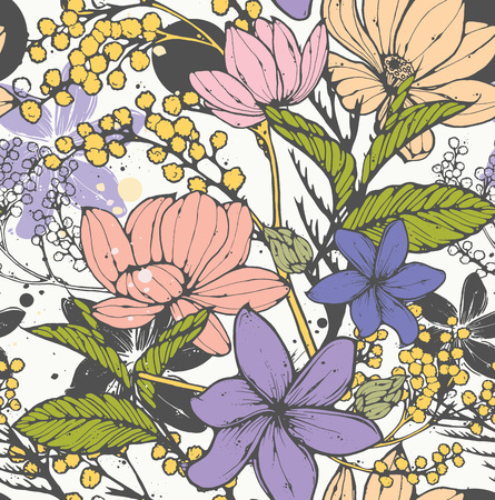mimosa: Beautiful vector seamless pattern with hand drawn flowers, frangipani, mimosa and lotus. Elegant repeating surface pattern perfect for web and print purposes.
