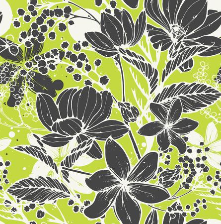 Hermoso vector de patrones sin fisuras con flores dibujadas a mano, frangipani, mimosa y loto. Elegante diseño repetitivo de superficie perfecto para propósitos web e impresos.