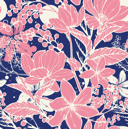 foliage: Beautiful vector seamless pattern with hand drawn flowers, frangipani, mimosa and lotus. Elegant repeating surface pattern perfect for web and print purposes.