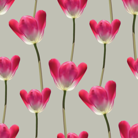 Realistic tulips vector seamless pattern, Repeating surface pattern with beautiful realistic 3D vector tulips for all web and print purposes. Illustration