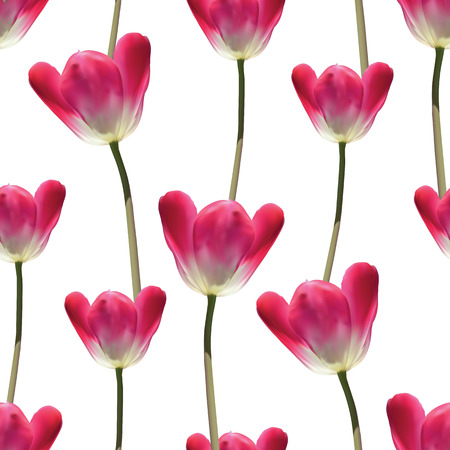Realistic tulips vector seamless pattern, Repeating surface pattern with beautiful realistic 3D vector tulips for all web and print purposes. Imagens - 54951200