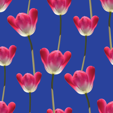 victorian pattern: Realistic tulips vector seamless pattern, Repeating surface pattern with beautiful realistic 3D vector tulips for all web and print purposes. Illustration