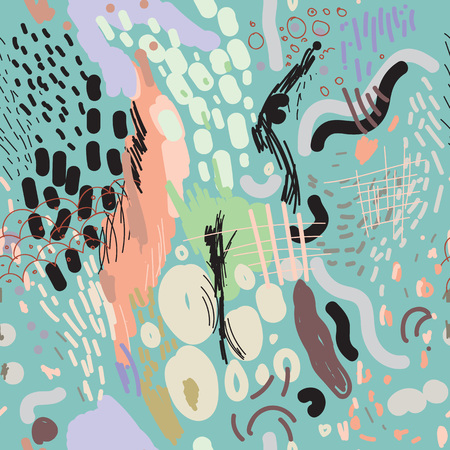 Vector seamless pattern with random freehand digital brush strokes, modern and trendy composition, surface pattern for all web and print purposes.  イラスト・ベクター素材