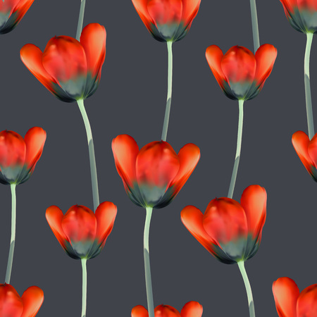 cross hatching: Realistic tulips seamless pattern, Repeating surface pattern with beautiful realistic 3D tulips for all web and print purposes. Stock Photo